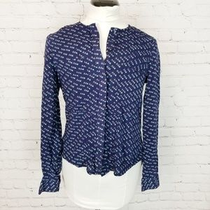 Anthro|Maeve Mini Bird Print Button Down Blouse